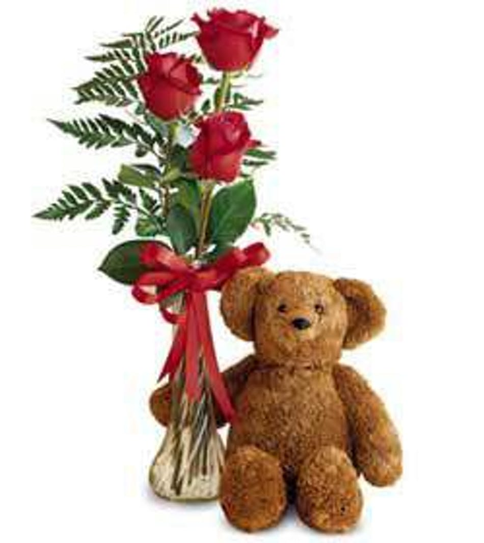 3 red roses in the vase & teddy